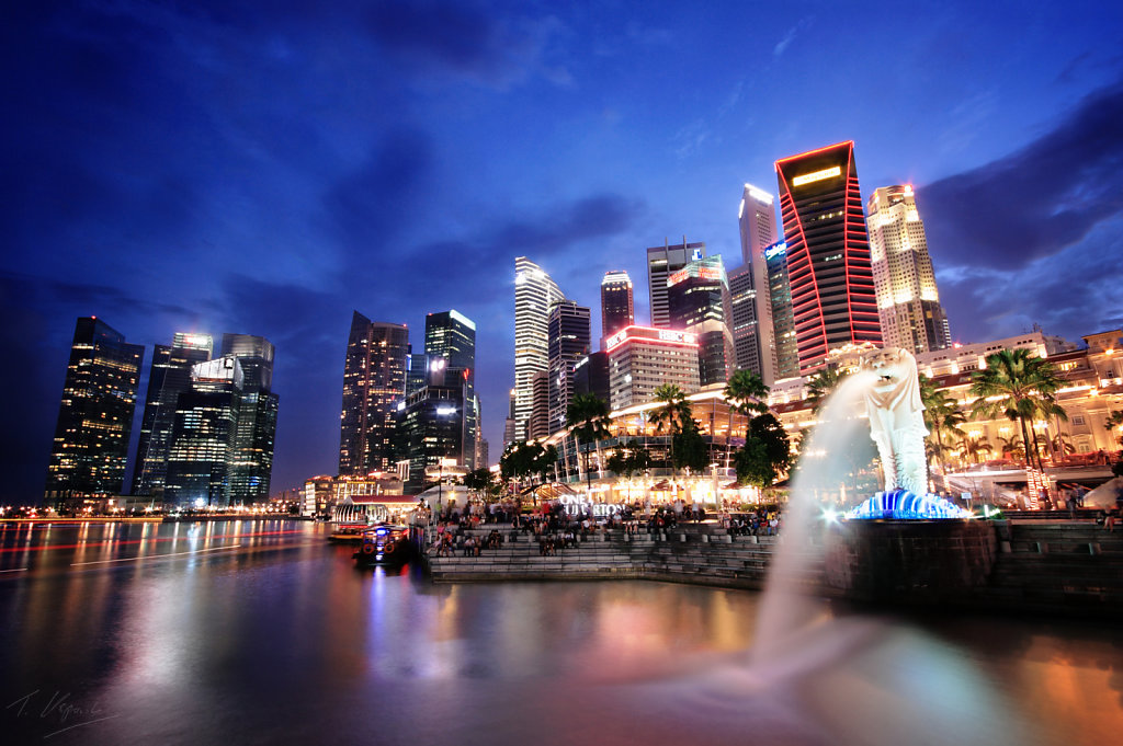 Merlion and Central Business District, Singapore