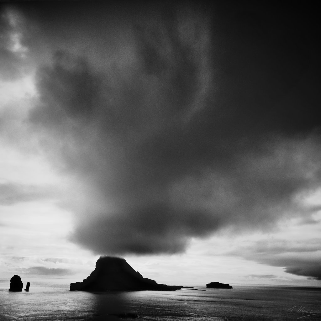 Cloud over Tindholmur, Faroe Islands