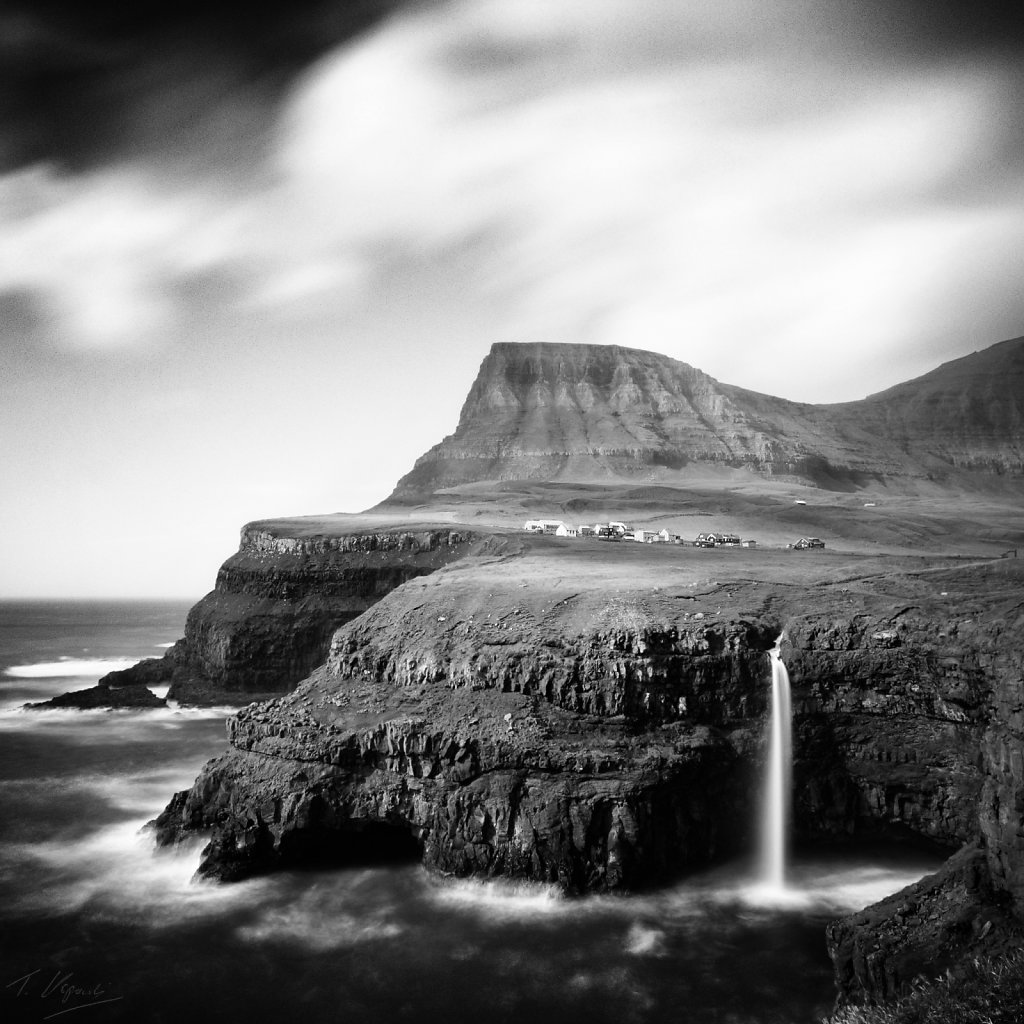 Gasadalur village and Mulafossur waterfall, Faroe Islands